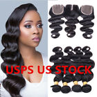 sell weave online - USA  STOCK 4*4 Lace Closure with 4 Bundles Brazilian Human Hair Extensions Weave