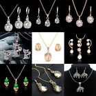 Fashion Women Bridal Crystal Necklace Chain Earrings Wedding Party Jewelry Sets