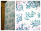 Provencale Toile De Jouy Wallpaper - Teal - Lovers Toile -  Shabby Chic - 6115