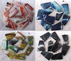 """30x40mm Red Green Blue Black Stripe Trapezoid Agate Loose Beads Stone 15.5 """""""