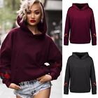 Women Casual Hooded Hoodie Floral Embroidered Track Outwear Jacket Sweats Pocket