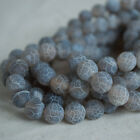 Grey Crackle Agate Frosted Matte Gemstone Round Beads - 4mm 6mm 8mm 10mm