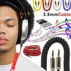 1M Coiled 3.5mm AUX Cable Mini Jack to Jack Male Auxiliary Lead iPhone Samsung