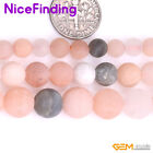 """Natural Multi Color Moonstone Frosted Matte Stone Beads For Jewelry Making 15"""""""