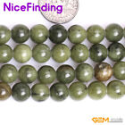"""8,10mm Natural Green Canada Jade Round Precious Stone Beads Jewelry Making 15""""NF"""