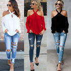 sexy white shirt - Summer Sexy Halter Cold Shoulder Long Sleeve Solid Color Casual T-Shirt Tops