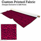 LEOPARD PRINT HOT PINK FABRIC PER METRE LYCRA  SATIN JERSEY SPANDEX FROM £15.99