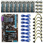 8 GPU Mining Motherboard with 8pcs PCI-E Extender Riser Card Adapter For BTC Rig