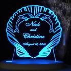 Personalized Wedding Cake Topper Dolphins Seashells Beach Opt LED light 8 Cols