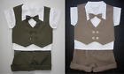 2 BABY BOY BUSINESS SUITS Shorts OUTFITS 1 Brown & 1 Green Formal Occasion Wear