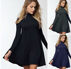 Casual Solid Colors Turtleneck A-Line Fit & Flare Long Sleeve Basic Knit Dress