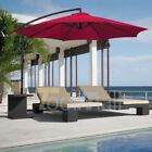 10' Hanging Umbrella Patio Sun Shade Offset Outdoor Market W/ Crank Tilt 6 Ribs