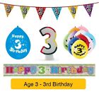 AGE 3 - Happy 3rd Birthday Party Balloons, Banners, Badges & Decorations