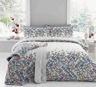 'Malinda' Floral Duvet Covers Modern Flower Print Cotton Blend Bedding Set Blue