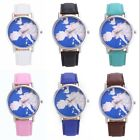 Women 's Fashion Map Dial Leather Band Analog Quartz Round Wrist Watch Watches