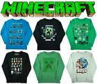 Boys Official Mojang Minecraft Creeper Pixel Assorted Long Sleeve Top 5-6 Years