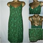 NEW NEXT SUN DRESS TUNIC SMOCK GREEN KHAKI BEACH SUMMER MIDI ABSTRACT 6 - 20