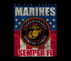 US Marine Corps Banner Flag Freedom Marines USMC Adult Black shirt