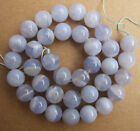 4mm 6mm 8mm 10mm 12mm Natural Blue Chalcedony Round Loose Beads 15""