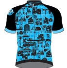 Men's San Vicente CYCLING SHORT SLEEVE JERSEY in Blue Made in Italy by GSG