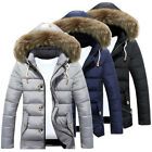 Men Winter Warm Padded Jacket Thick Hooded Zip Down Trench Coats Parka Peacoat