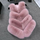 UK Women Faux Fur Gilet Waistcoat Warm Wrap Jacket Coat Outwear Overcoat TY