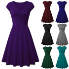 Women V-neck Short Sleeve A-line Swing Dress Cocktail Evening Party Dresses Gown
