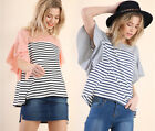 S M L UMGEE Womens Ruffle Short Sleeve Shirt Stripe Knit Top Oversized Grey Pink