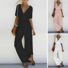 Women V Neck Loose Tunic Playsuit Party Romper Short Sleeve Long Jumpsuit Pants