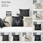 Black White Nordic Deer Animal Heart Flax Linen Pillow Case Cushion Cover Simple