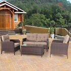 4pcs Outdoor Home Garden Rattan Wicker Loveseat Furniture Set With Cushions Us