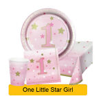 Age 1/1st Birthday ONE LITTLE STAR GIRL Party Range Tableware & Decorations {1C}