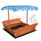 Kids Canopy Sandpit Wooden Play Outdoor Sand Pit Box