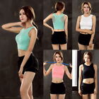 Women Mesh Hollow Sports Padded Bra Wireless Vest Breathable Gym Yoga Tops