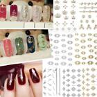 Metallic Gold Silver Flower Nail Stickers Nail Art Decals DIY Manicure EN24H