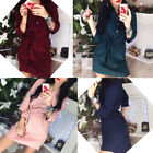 Women Fashion Casual Loose Bandage Shirt Button Blouse Dress OL Tops Dresses