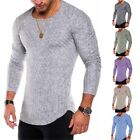Fit Mens Striped T-Shirts Slim Tee Long Sleeve Casual Sport Tops Streetwear