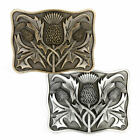 Men's J. Wood Scottish Thistle Kilt Belt Buckles in Antique & Brass