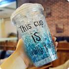 450ML Summer Double layer Cool Drink Bottle Iced Coffee Cup Straw Plastic Lovely