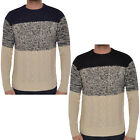 Soul Star Mens Cable Knitted Crew Neck Sweatshirt Pullover Jumper Sweater