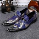 New Mens Wedding Party Leather Metal Pointy Toe Slip On Dress Formal Shoes Chic