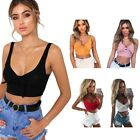 Women Ladies Sleeveless Cropped Tops Solid Tank Shirts T Shirt Party Clubwear US