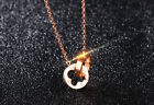 Fashion Rose Gold Double Clover Pendant Chain Necklace