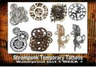 STEAMPUNK GEARS CLOCK TATTOO LARGE x2 temporary waterproof last 1 WEEK+