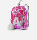 Justice Girls Pink Flip Sequin Initial Mini Backpack NWT