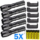 Lot Tactical 90000LM T6 LED Zoomable Police Flashlight Torch Light+18650&Charger