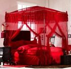 4 Post Arched Bed Lace Princess Curtain Red Canopy Home Mosquito Nets With Frame