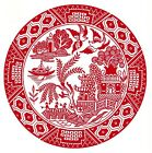 Red Willow Oriental Flower Scene Select-A-Size Ceramic Waterslide Decals Bx image