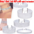 Fashion Full Diamond Rhinestone Choker Necklace Bracelet Set Wedding For Women