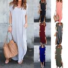 US Women Casual T-Shirt Long Maxi Dress Split Evening Party Dress Dresses S-2XL